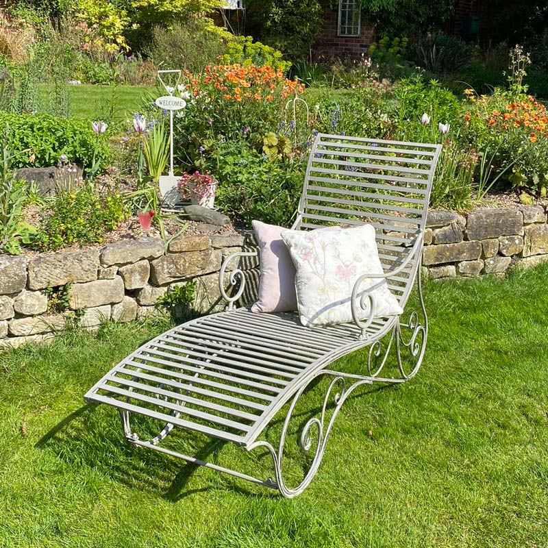 Vintage Grey Metal Sun Lounger