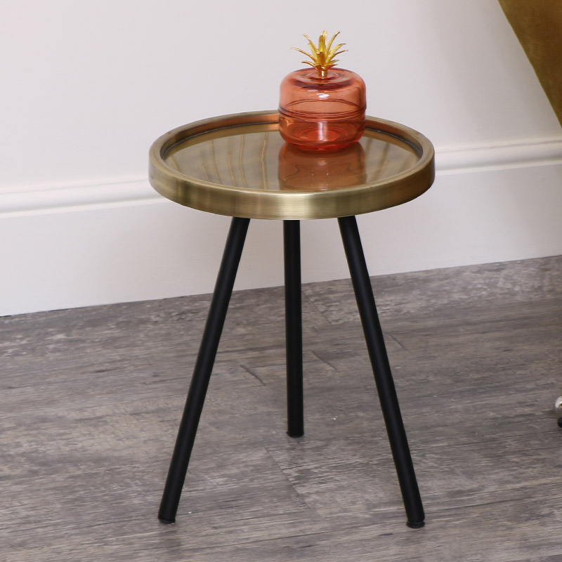 Black & Gold Round Side Table