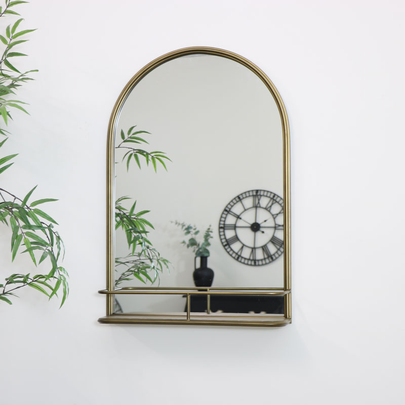 Large Brass Arched Mirror with Shelf