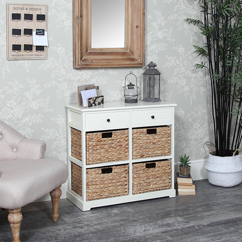 Cream Wood & Wicker 6 Drawer Basket Storage Unit - Hereford Cream Range