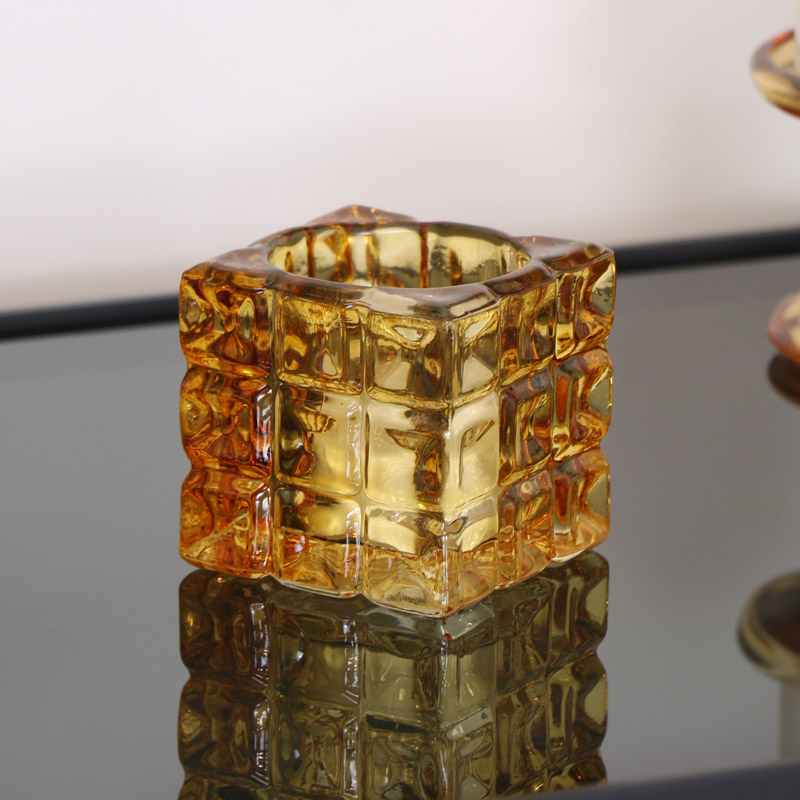 Glass Amber Candle Holder
