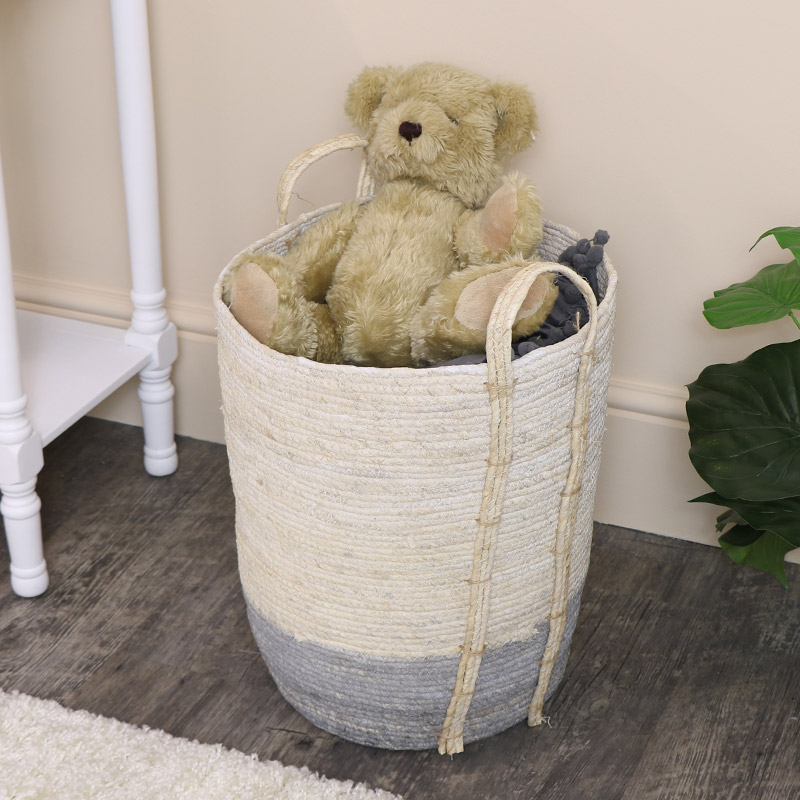 Small Tall White & Grey Seagrass Basket