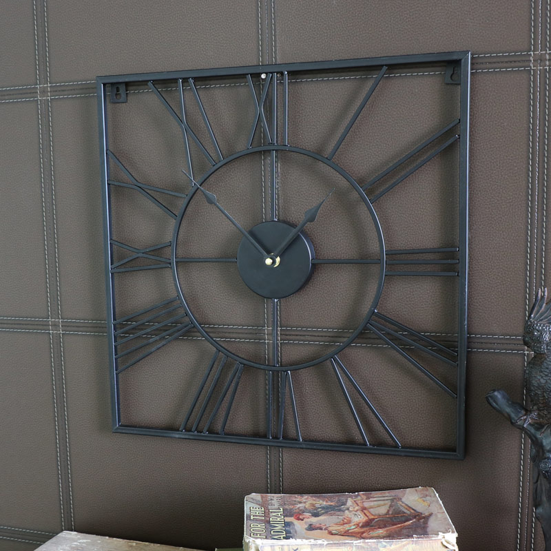 Black Iron Square Skeleton Wall Clock