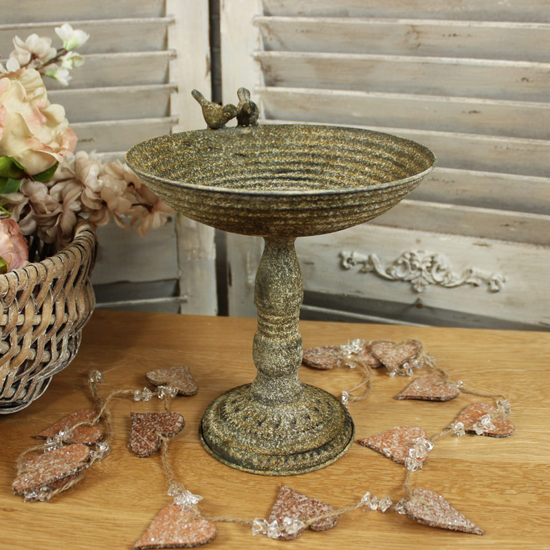 Vintage Metal Bird Bath