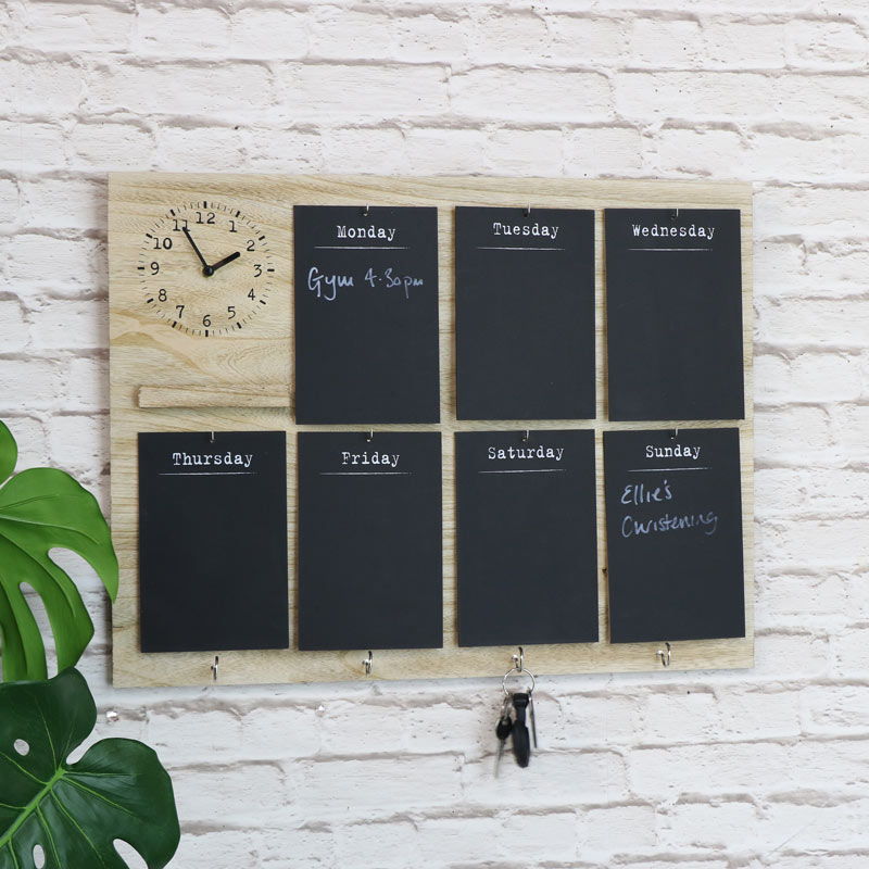 Days of the Week Chalkboard with Clock