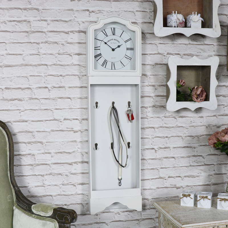 White Vintage Style Grandfather Clock with Key Hooks