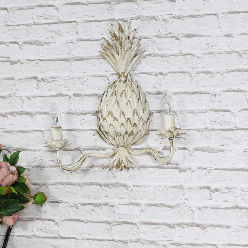 Antique White Pineapple Double Wall Light