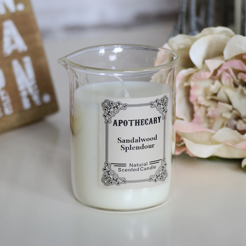 Sandalwood Scented Apothecary Candle in Glass Beaker