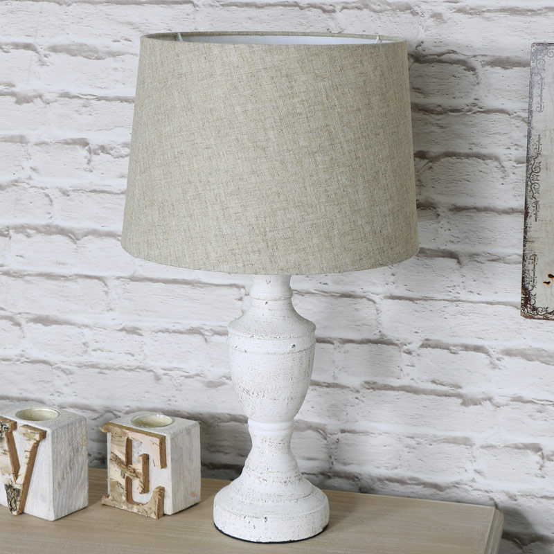 Pretty Vintage Antique White Table Lamp with Beige Shade