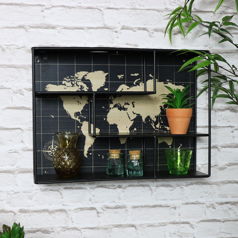 World Map Metal Wall Shelf