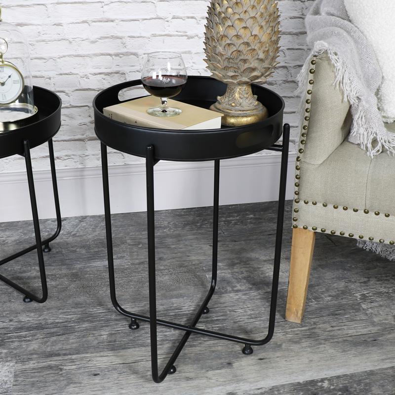 Tall Round Black Butlers Serving Tray Table