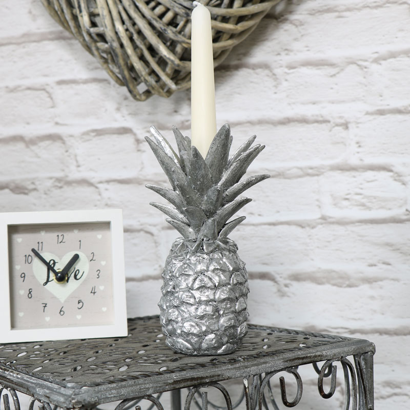 Silver Pineapple Candle Stick Holder