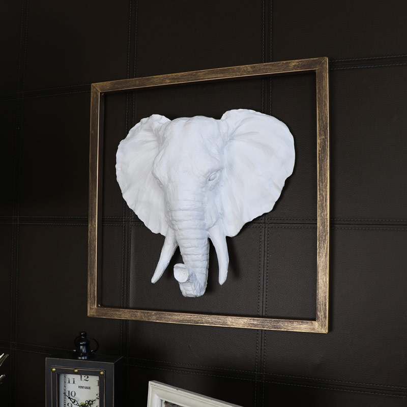 White Wall Mounted Elephant Head with Gold Frame Surround