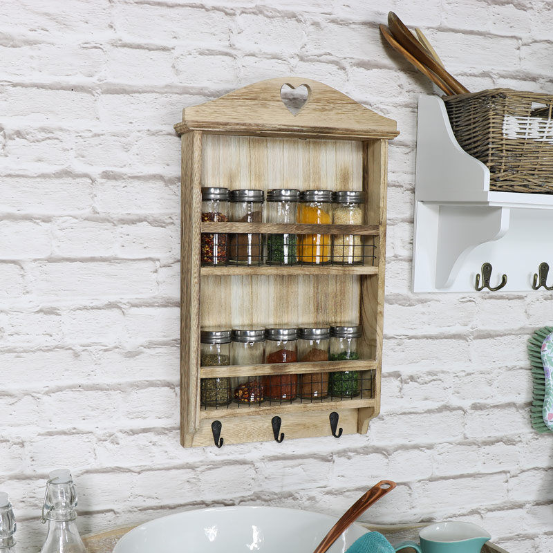 Wooden Heart Spice Rack With Hooks