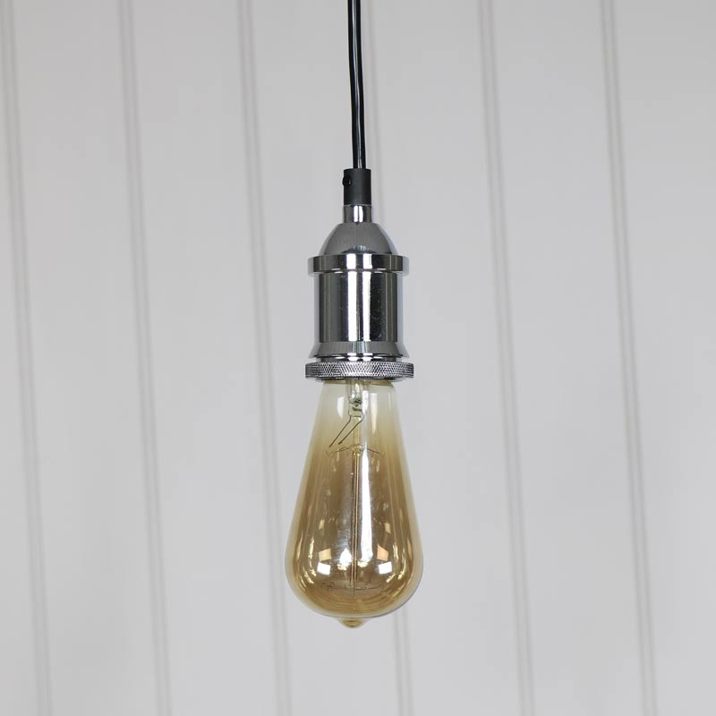 Chrome Bare Bulb Ceiling Light