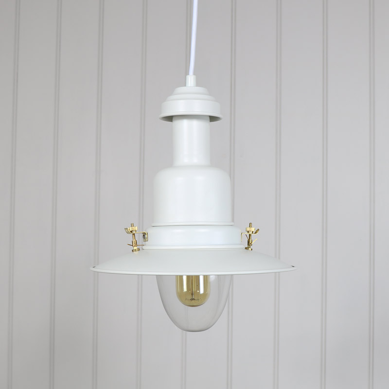 White Metal Industrial Fisherman Style Ceiling Light