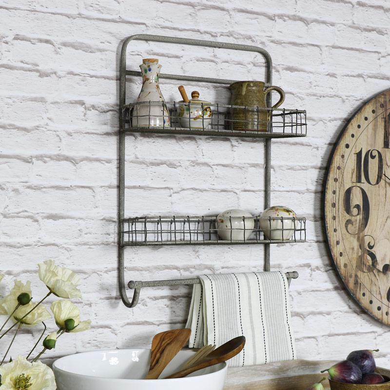 Metal Wall Mounted Double Basket Shelf with Rail
