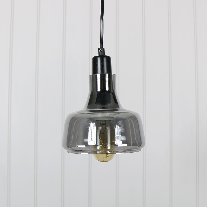 Grey Smoked Glass Pendant Light