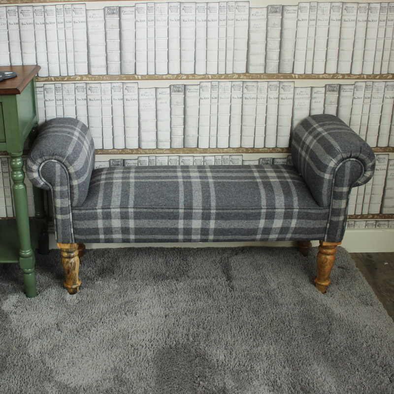 Grey Tartan Upholstered Backles Bench / Chaise