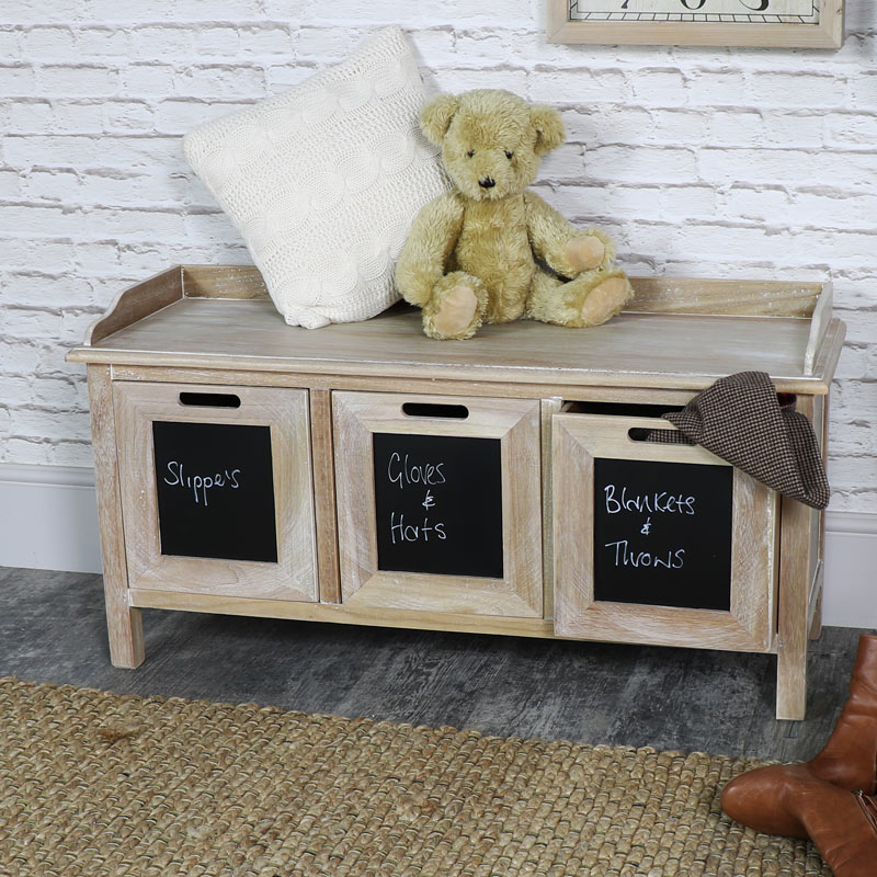 3 Drawer Wooden Storage Bench