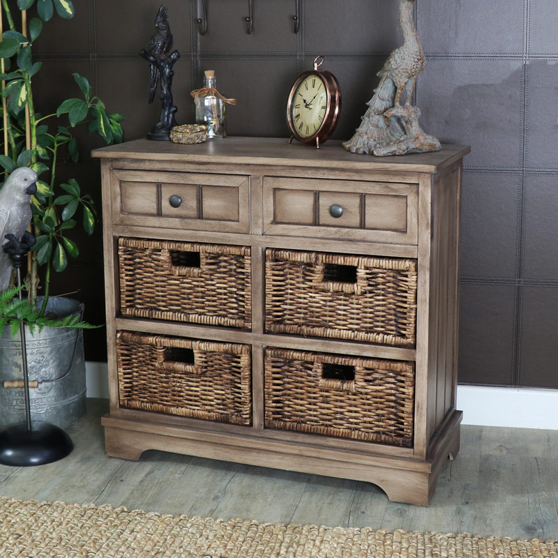 Wooden Rustic 2 Drawer 4 Basket Storage Unit - Dorchester Range