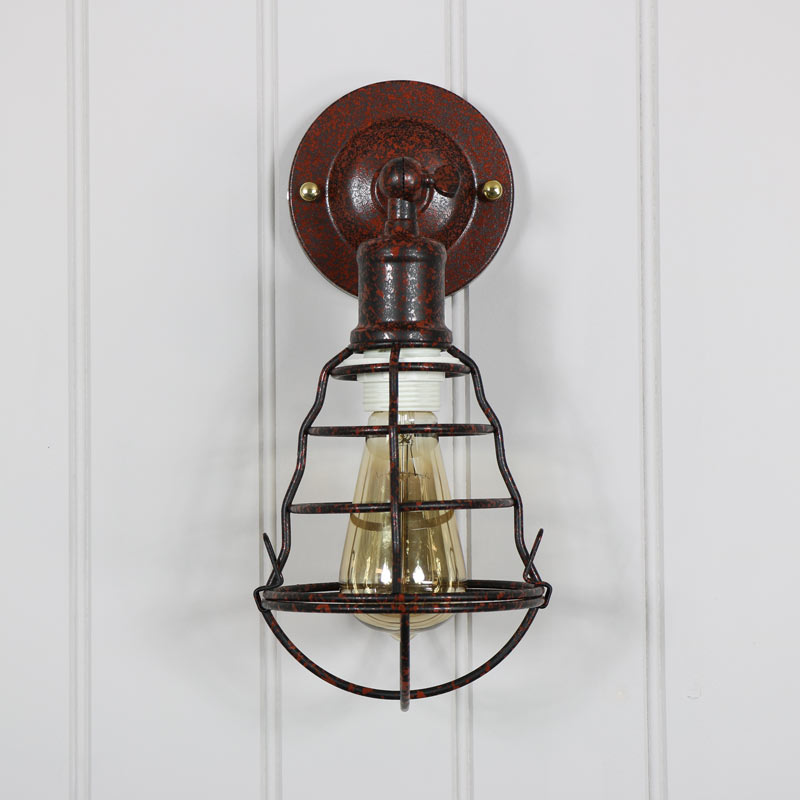 Rustic Industrial Caged Metal Wall Light