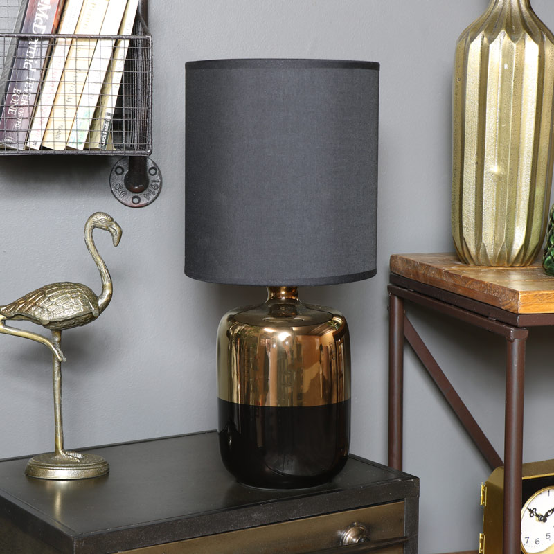 Gold & Black Ceramic Bedside Table Lamp with Black Shade