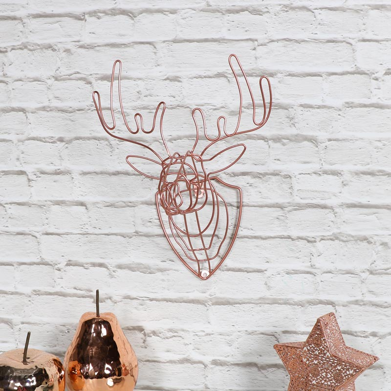Copper Wire Stag Head Sculpture
