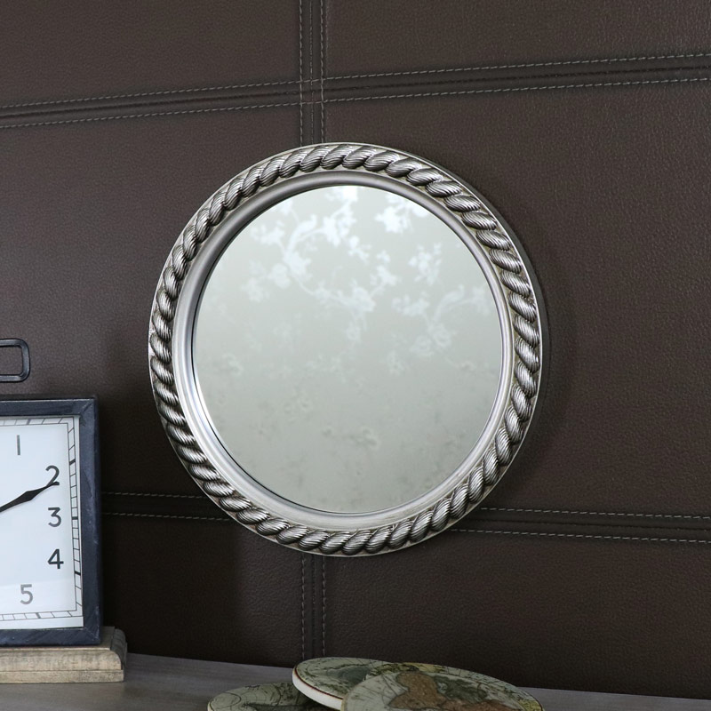 Silver Rope Effect Round Wall Mirror 25.5cm x 25.5cm