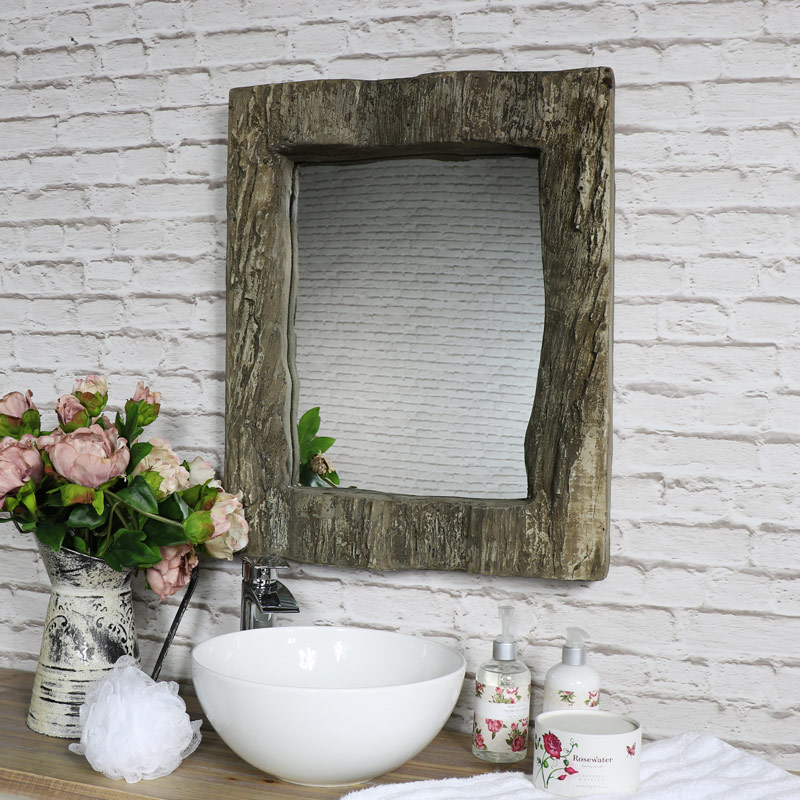 Rustic Wood Effect Wall Mirror 50cm x 62cm