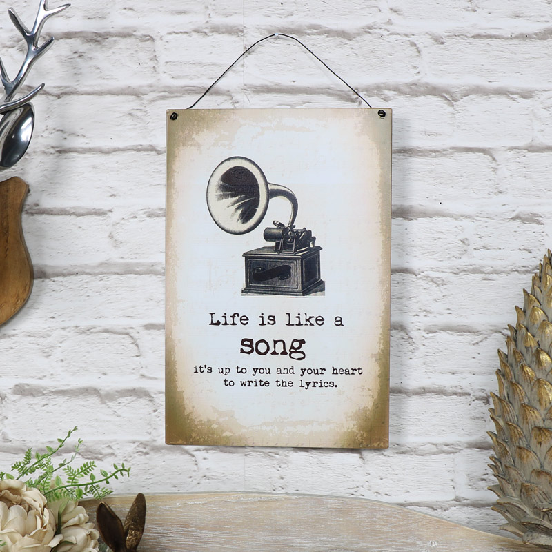"Metal Wall Plaque ""Life is Like a Song"""