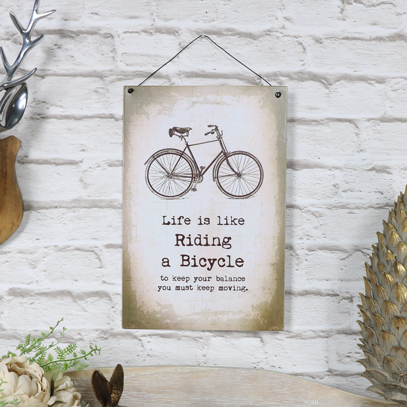 """Metal Wall Plaque """"Life is Like Riding a Bicycle"""""""