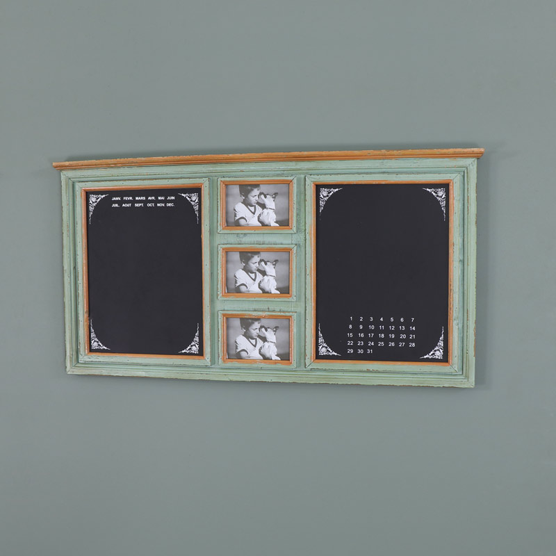 Large Rustic Green Wall Mounted Notice Board with Photograph Frames