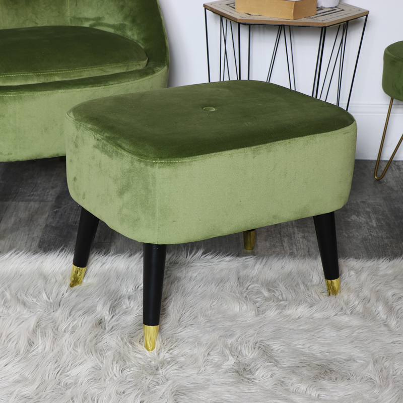 Green Velvet Low Stool