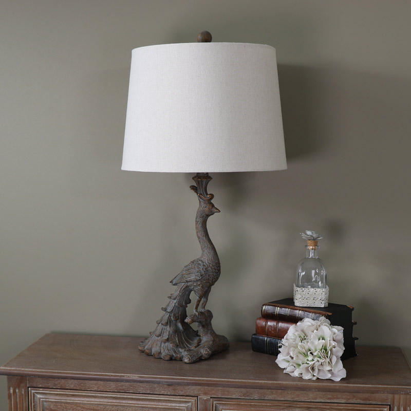 Decorative Antique Gold Peacock Table Lamp