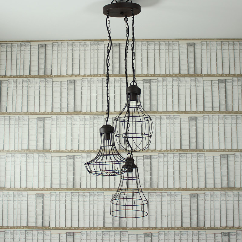 Industrial Wire Triple Pendant Ceiling Light