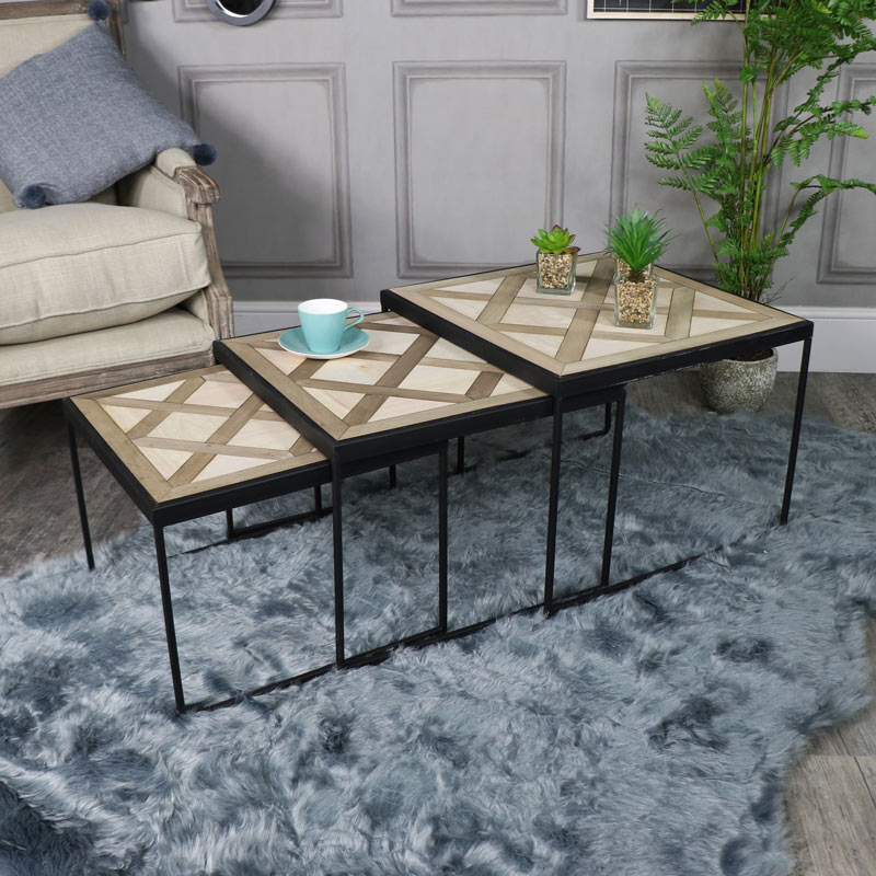 Set of 3 Geometric Design Nest of Tables