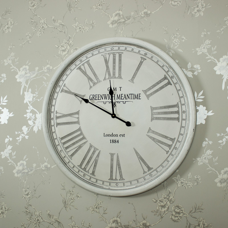 Large Round Grey Wall Clock