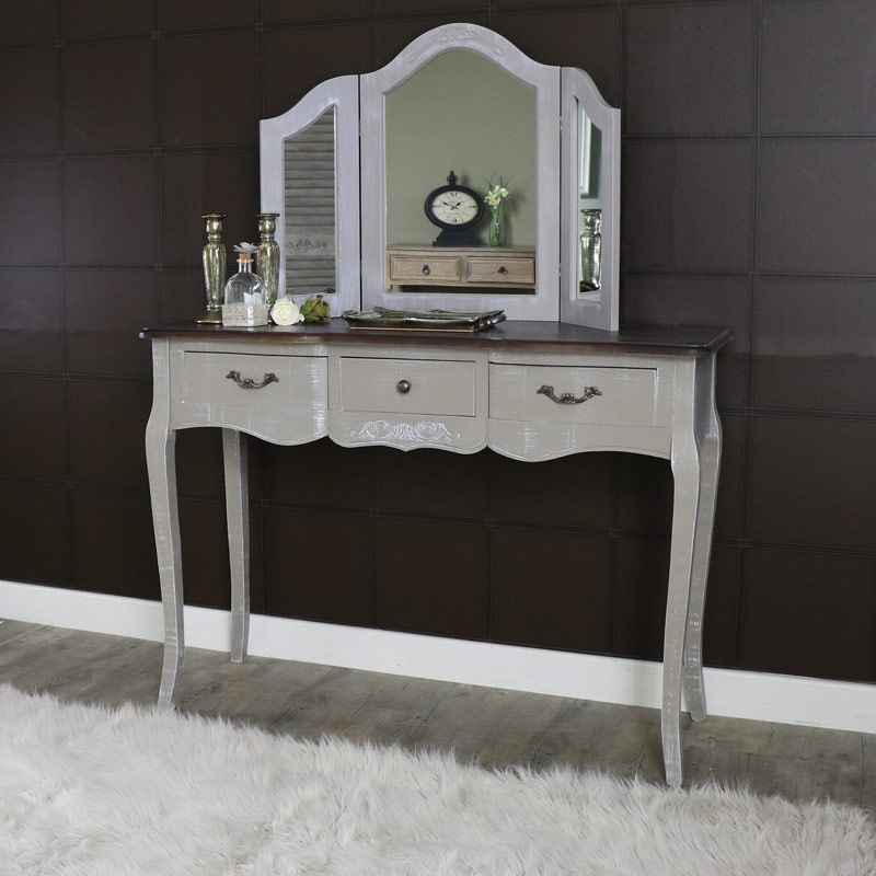Large Grey Dressing Table and Triple Mirror Set - French Grey Range