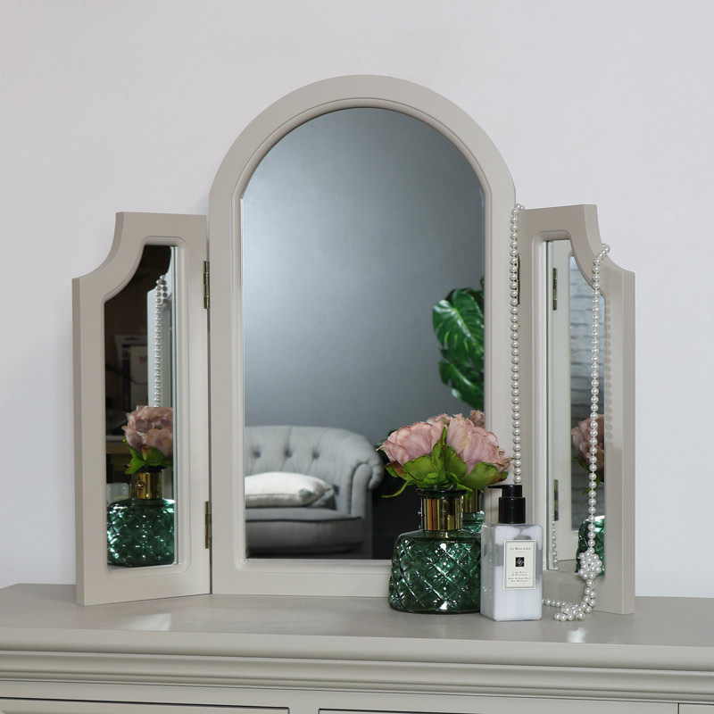 Table Top Triple Vanity Mirror - Daventry Taupe-Grey Range