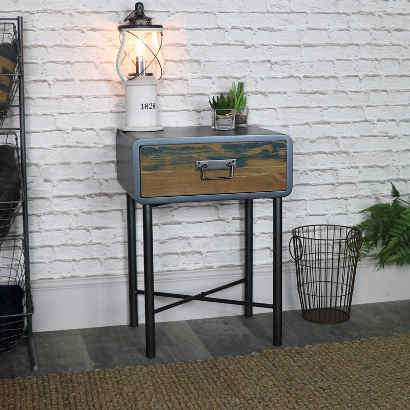 Retro Industrial 1 Drawer Bedside Lamp Table – Chicago Range
