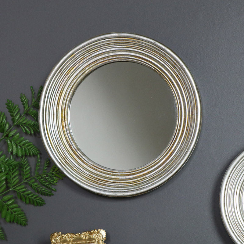 Large Antiqued Round Silver Wall Mirror