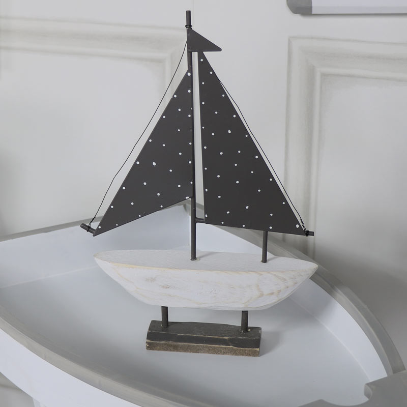 Small Vintage Wooden Sail Boat Ornament