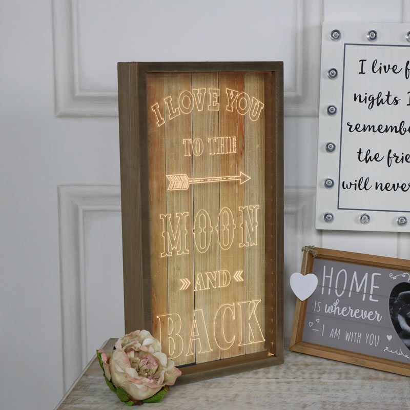 "Wooden Framed LED Light Up Plaque ""I Love You....."""