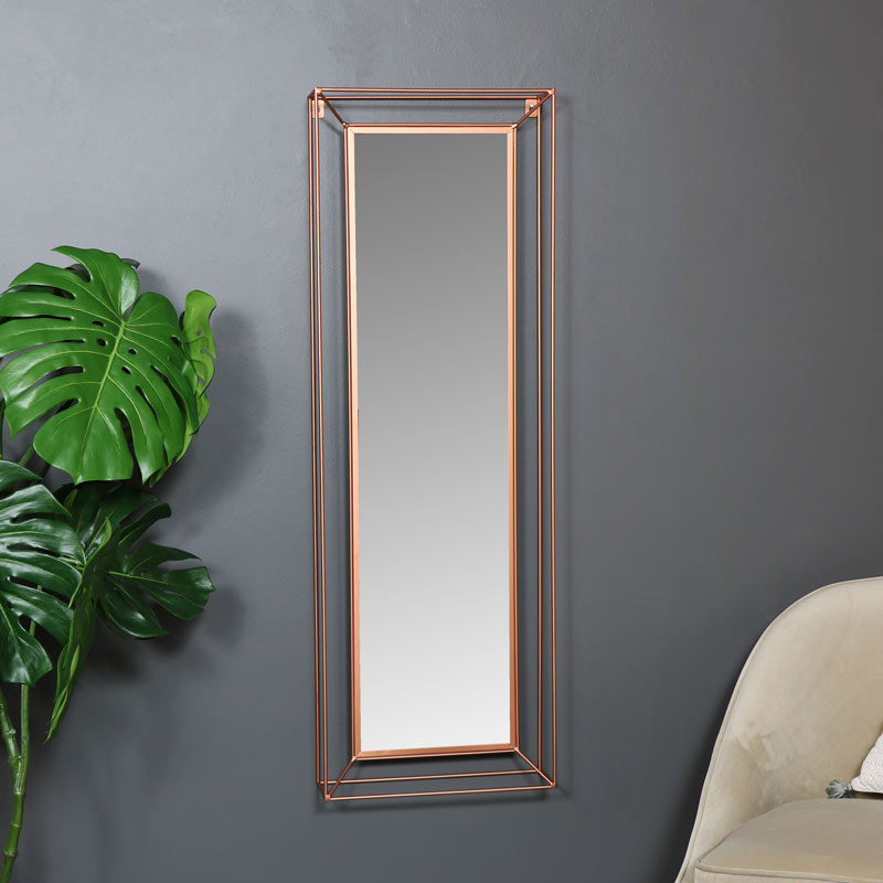 Large Copper Metal Framed Wall Mirror