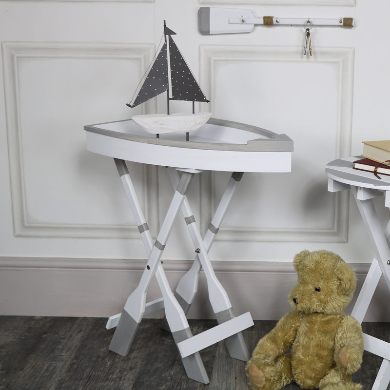 White Wooden Boat Shape Tray Side Table