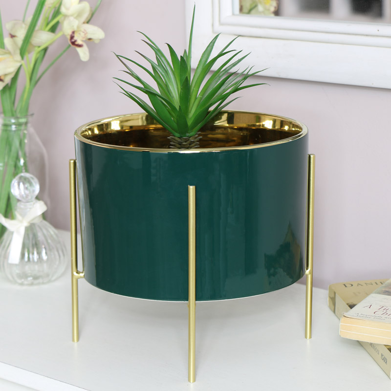 Green & Gold Plant Stand
