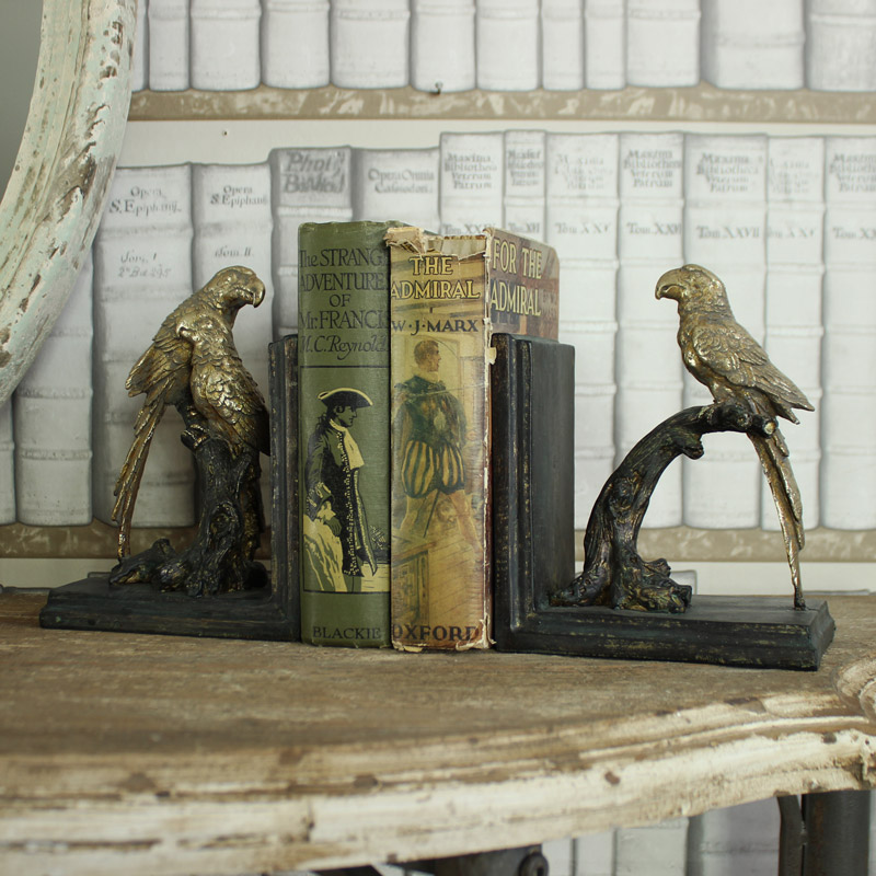 Silver Parrot Bookends