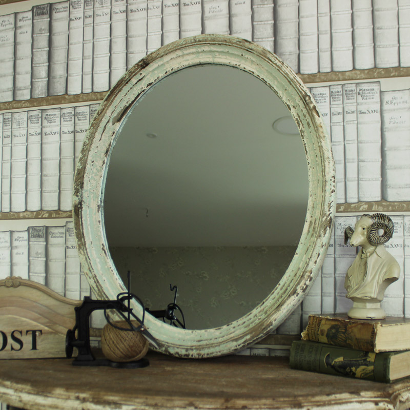 Large Cream Green Rustic Oval Wall Mirror Windsor Browne