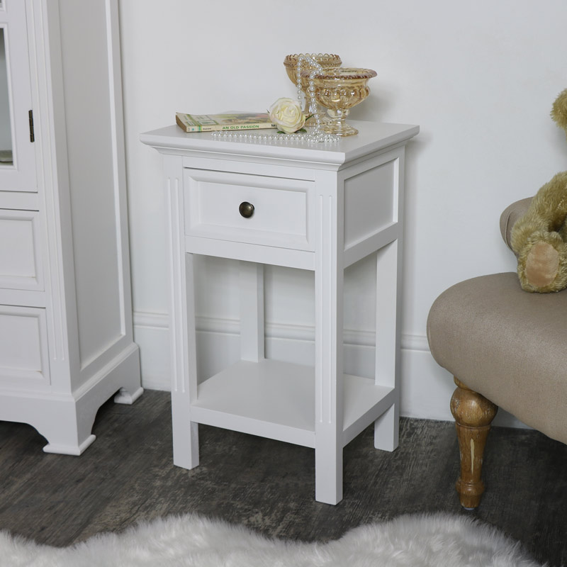 Slim White Bedside Table - Daventry White Range